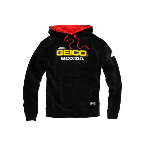 100% - FLEECE - BASE HOODED SWEATSHIRT - GEICO/HONDA - BLACK