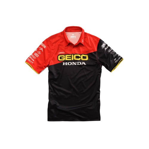 100% - SHIRT - TEAM PIT SHIRT GEICO/HONDA - BLACK