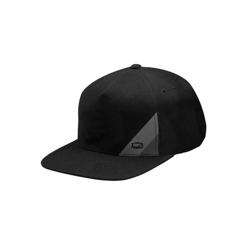 100% - HAT - WAXED SNAPBACK BLACK