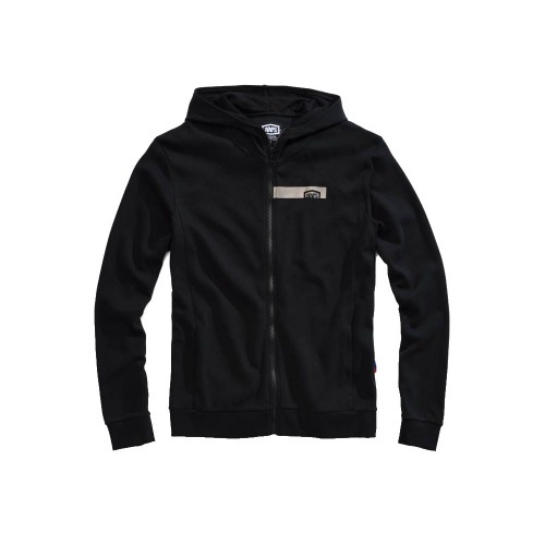 100% - FLEECE - CHAMBER ZIP HOODED SWEATSHIRT - BLACK