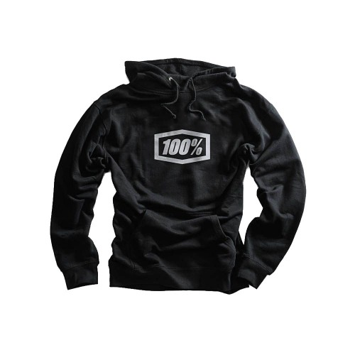 100% - FLEECE - CORPO HOODED SWEATSHIRT - BLACK