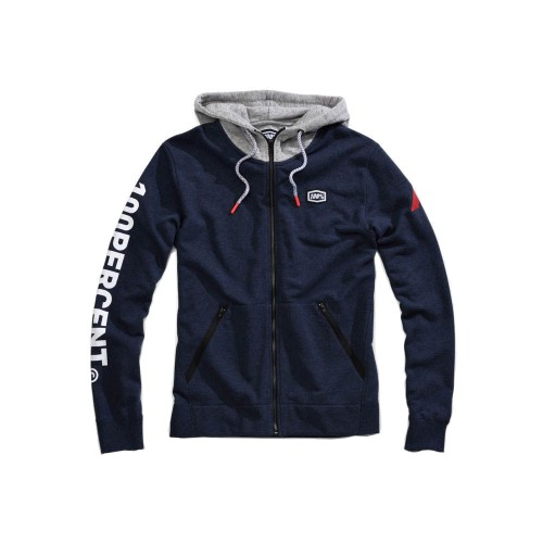 100% - FLEECE - HIATUS ZIP HOODED SWEATSHIRT - NAVY HEATHER