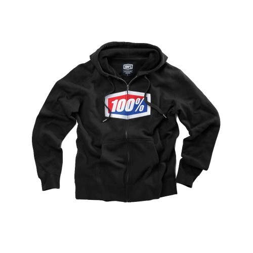 100% - FLEECE - OFFICIAL ZIP HOODED SWEATSHIRT - BLACK