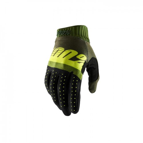 100% - RIDEFIT GLOVE - ARMY GREEN FLUO LIME FATIGUE