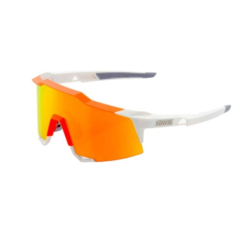 100% - SPEEDCRAFT LL - WHITE / NEON ORANGE - HiPER RED MULTILAYER MIRROR