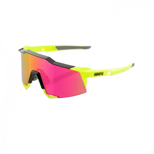 100% - SPEEDCRAFT LL - POLISHED BLACK FLUORESCENT YELLOW - PURPLE MULTILAYER MIRROR