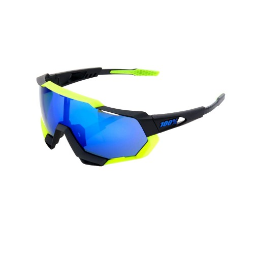 100% - SPEEDTRAP - POLISHED BLACK / MATTE NEON YELLOW-ELECTRIC BLUE MIRROR