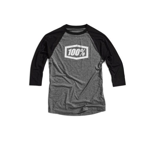 100% - SHIRT - ESSENTIAL 3/4 SLEEVE TECH TEE GREY BALCK