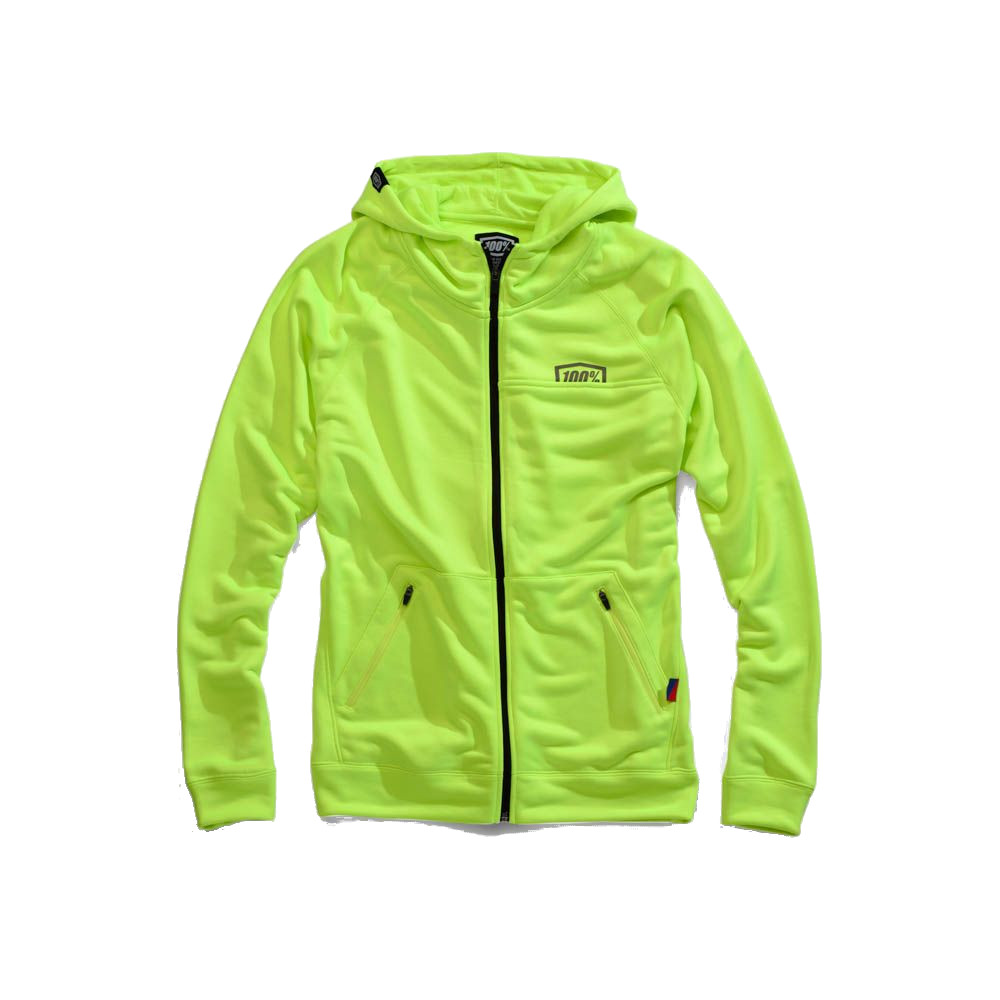 100% - FLEECE - UNION ZIP HOODED SWEATSHIRT - FLUO YELLOW